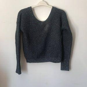 Sisley Sccop Neck Grey Sequin sweater